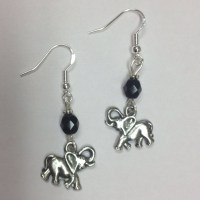 Elephant Earrings with faceted jet crystal accent beads ...
