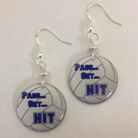 Volleyball Pass, Set Hit Earrings  on sterling silver ...