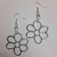 Daisy or Flower Earrings with faceted clear crystal accent ...