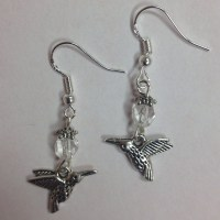 Hummingbird Nature Themed Bird Earrings with faceted clear ...
