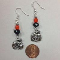 Halloween or Fall Pumpkin Earrings, on sterling silver ...