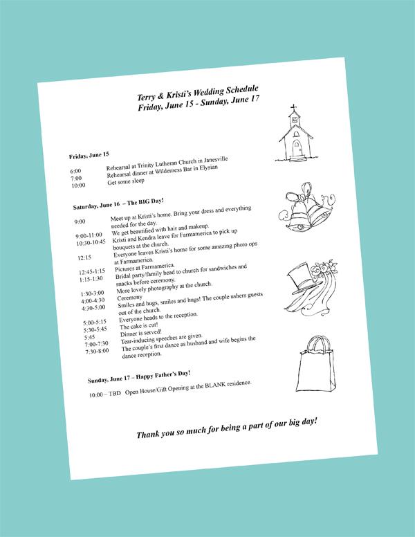 program itinerary template