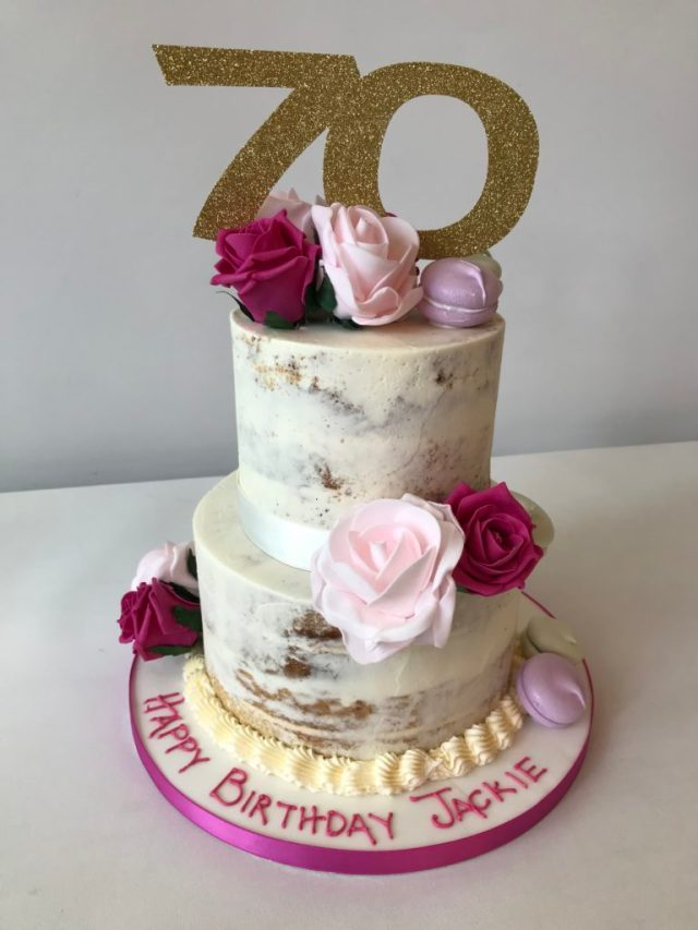 Summer Cake Trends: Semi Naked & Drip Cakes...a 70th birthday semi naked cake