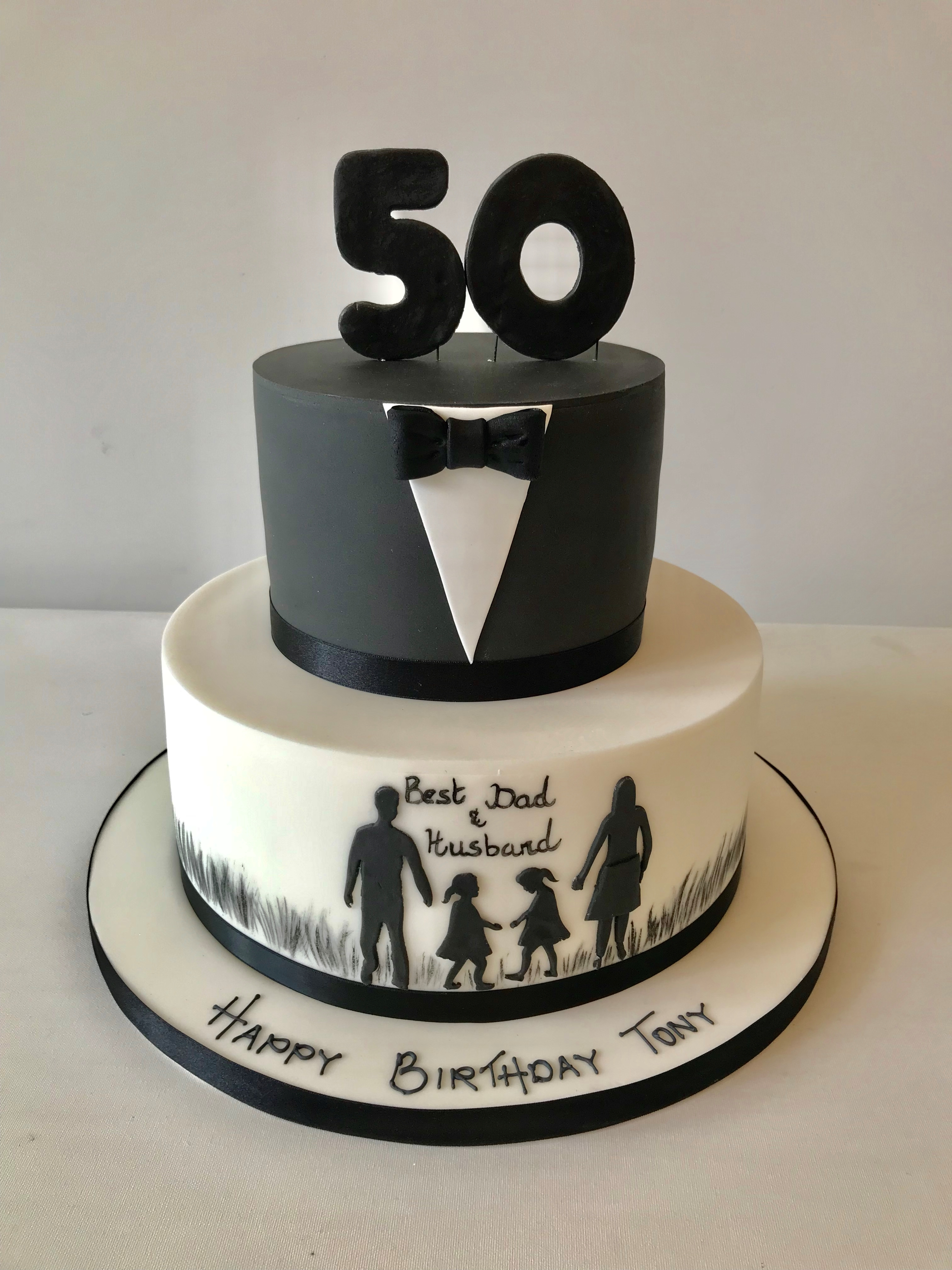 Outstanding 50Th Silhouette Anns Designer Cakes Personalised Birthday Cards Bromeletsinfo