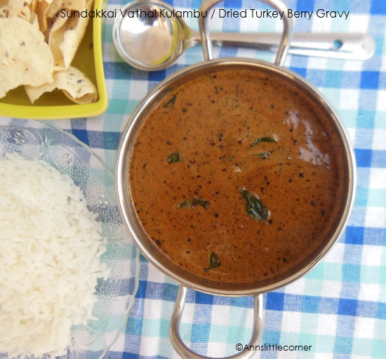 Sundakkai Vathal Kulambu / Dried Turkey Berry Gravy