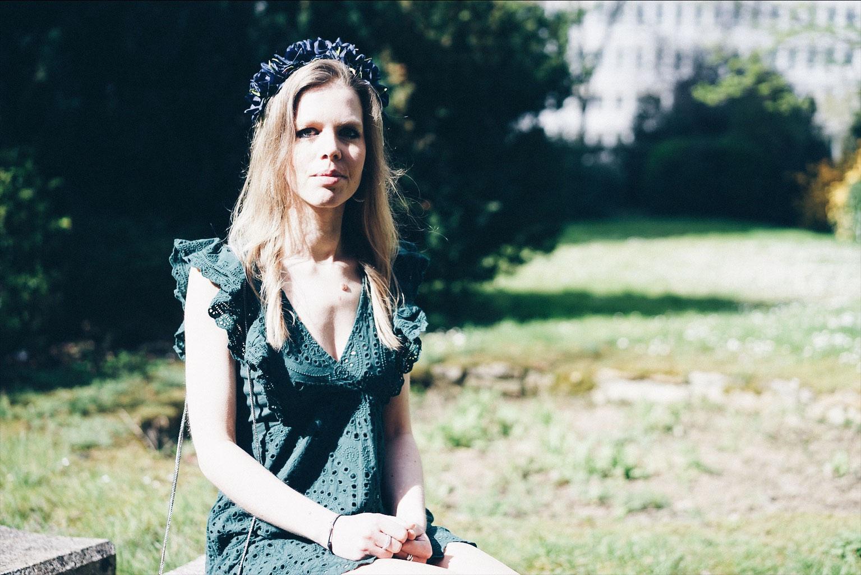robe verte fleurs