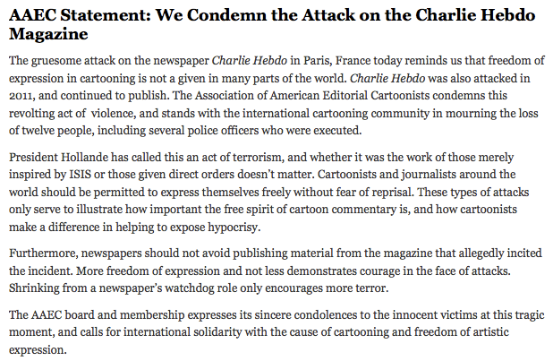 AAECstatement of support Charlie Hebdo
