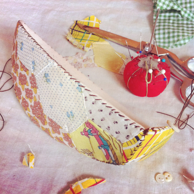 fabric sail boat made from an old quilt