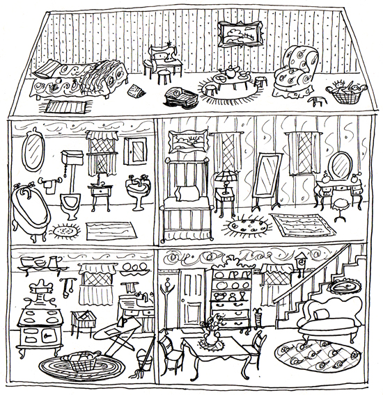 Line Art Dollhouse : Dollhouse ann wood handmade