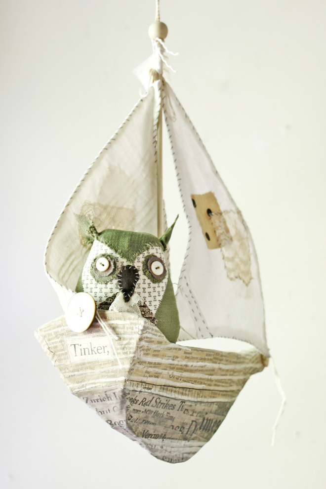 paper mache ship and owl pattern