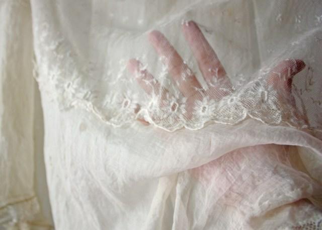 antique lace gown detail