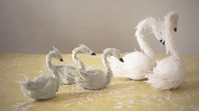 paper swan family yellow