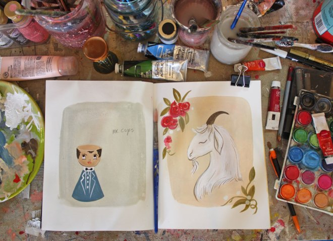 sketchbook painting of a goat and mr. cups