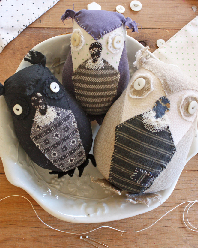 owls made from scraps