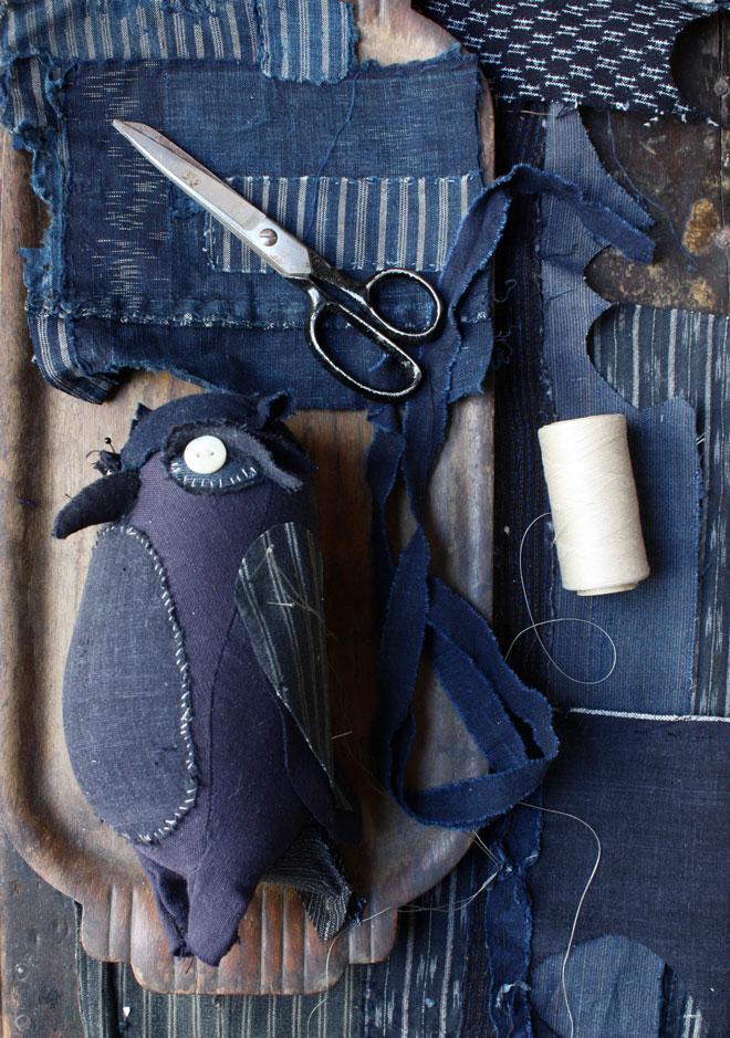 indigo owl made from Japanese textiles