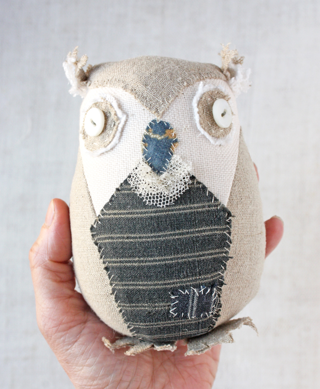 hand stitched linen owl
