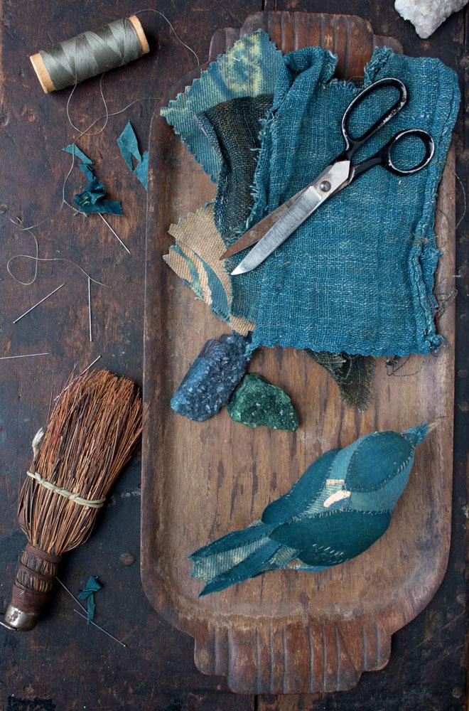 teal textile bird