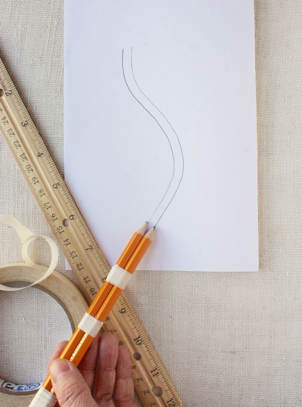 tape pencils together to mark a consistent seam allowance