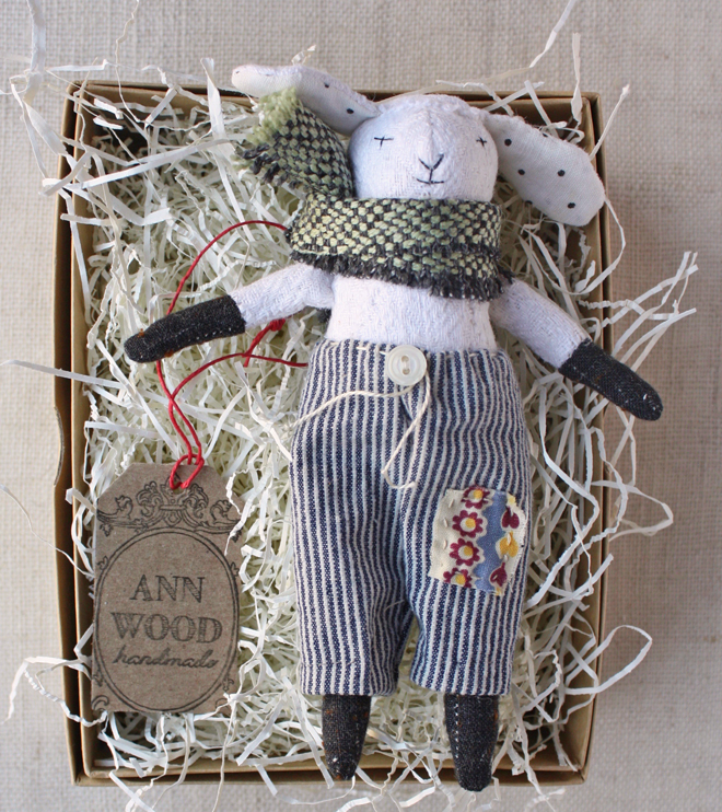 lamb rag doll in trousers