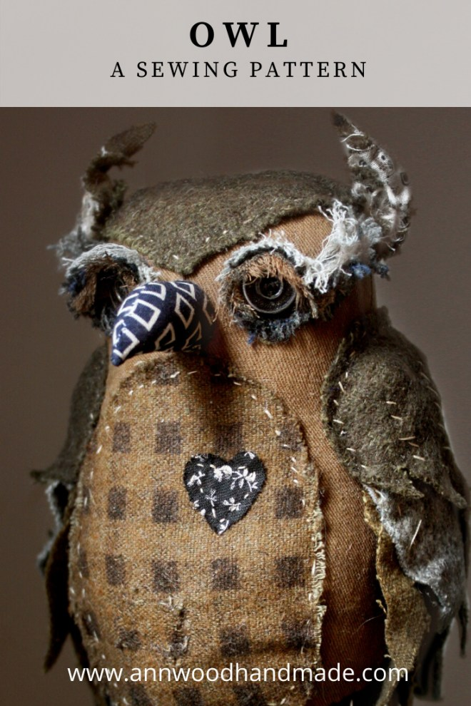 owl sewing pattern - wool scrap owl