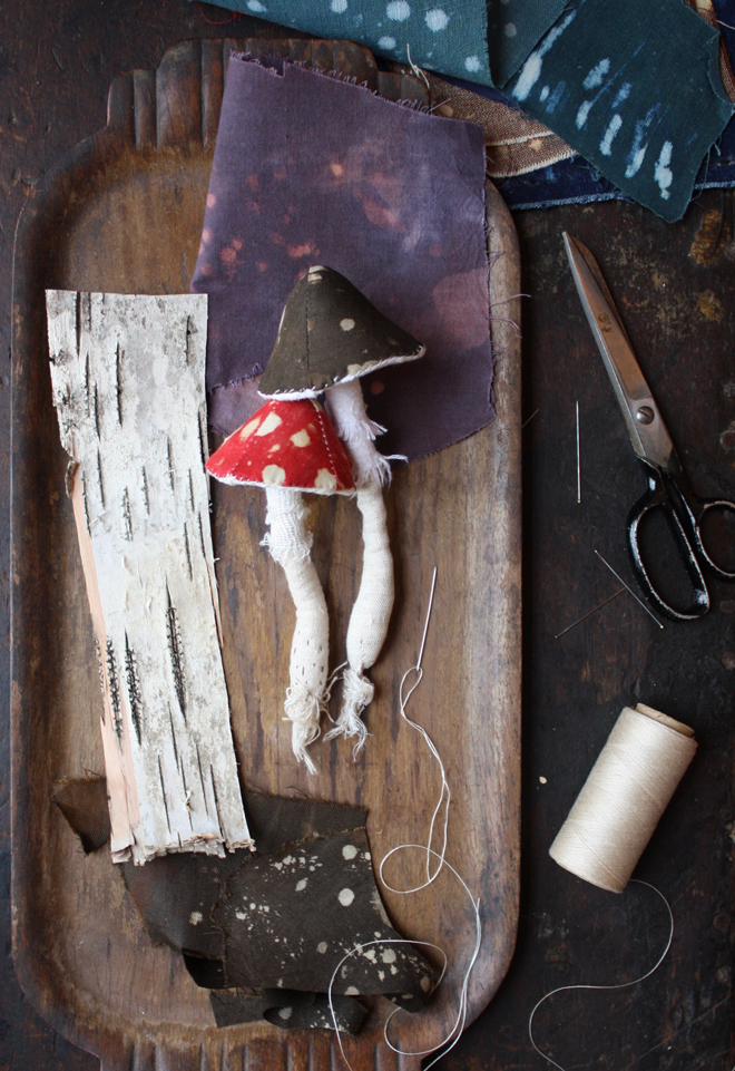 toadstools made from fabric