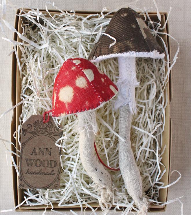 hand stitched mushrooms
