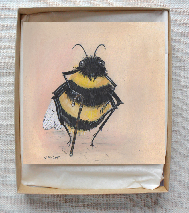painting of an old bee