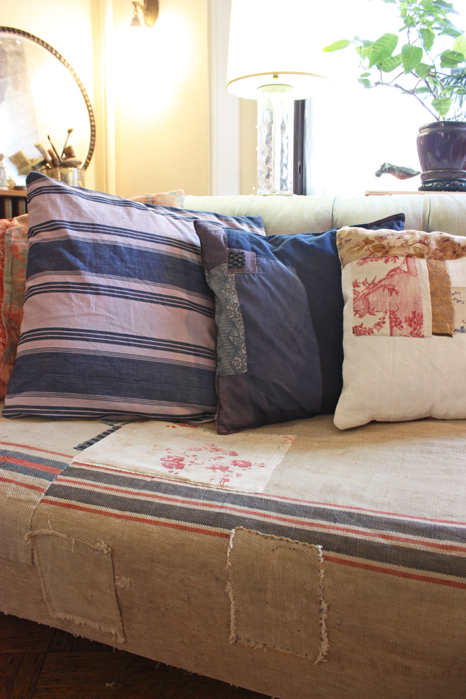 couch cover from antique grain sacks