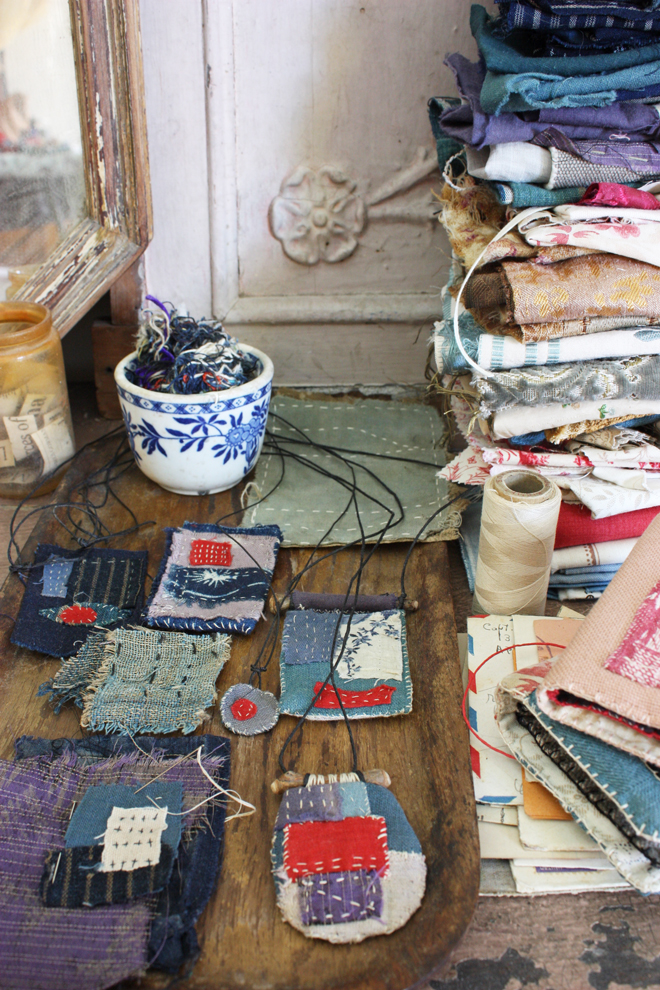 ann wood : stitch expeiments and stacks of antique scraps