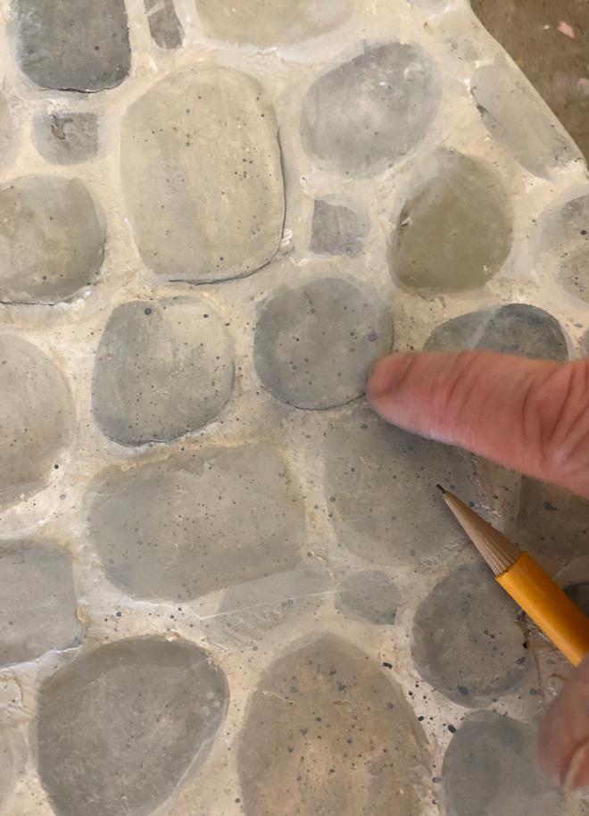 miniature stone hearth = pencil lines