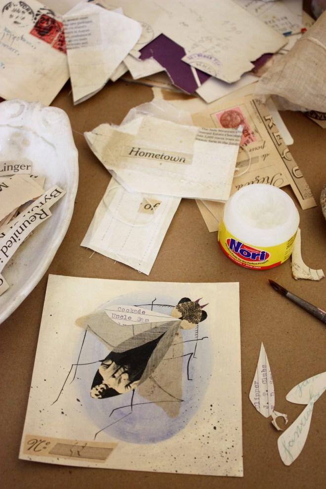 antique paper collage - beetle