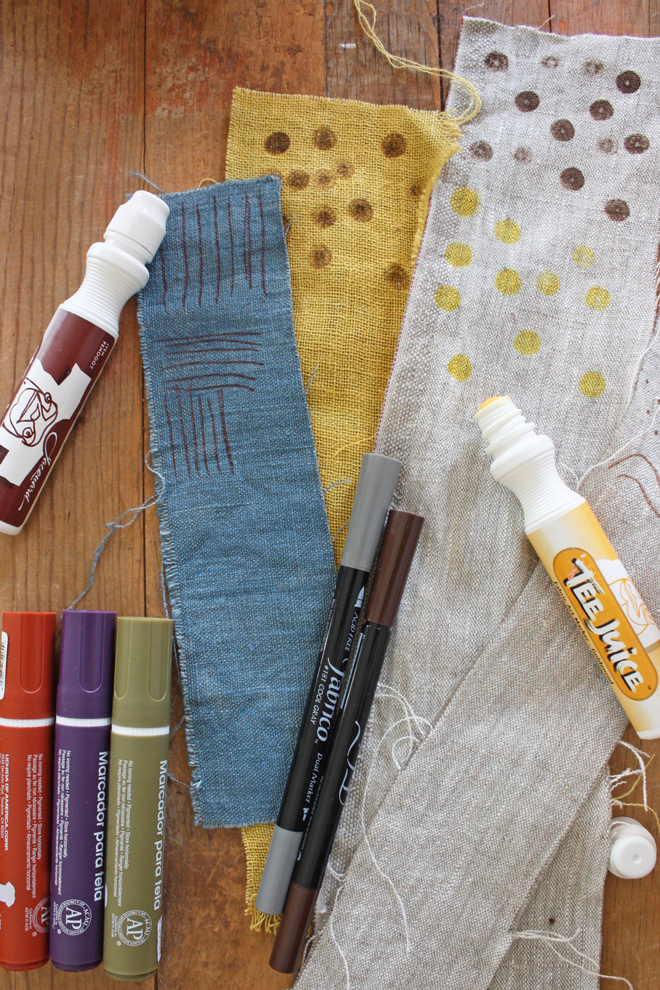 dot tipped fabric markers