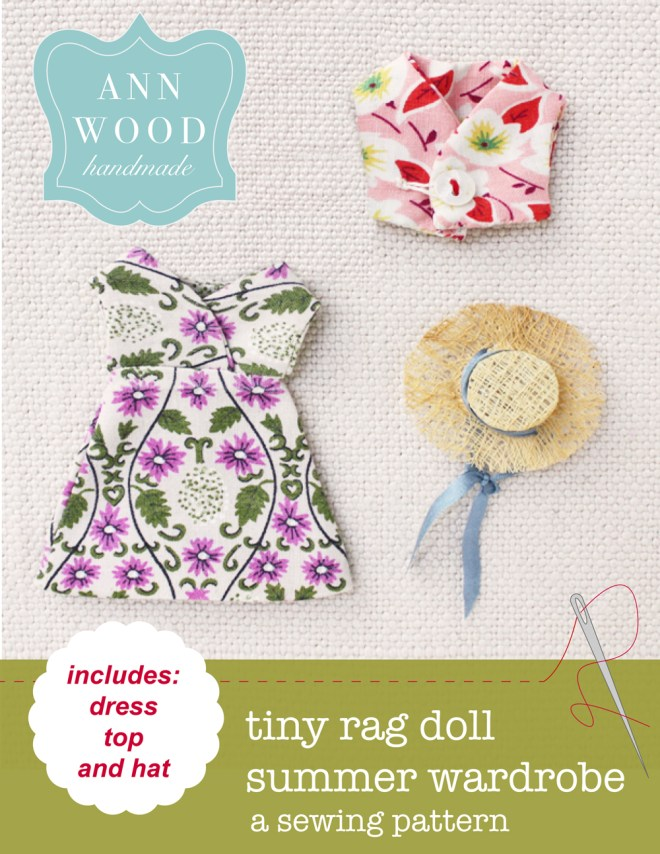 easy doll dress, top and hat sewing patterns