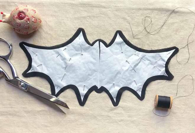 iron bat template to fabric