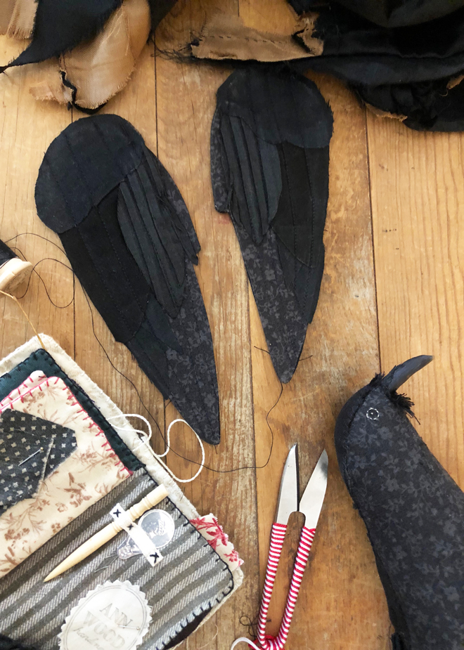 stitching crow wings