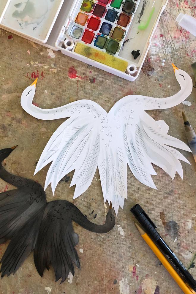 paper swan ornament box diy