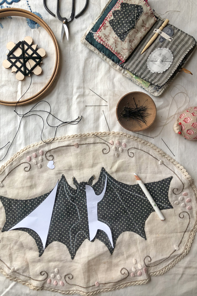 bat embroidery details tutorial