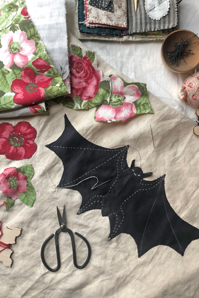 bat applque and embroidery diy project