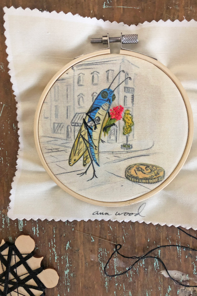 embroider a blue bug