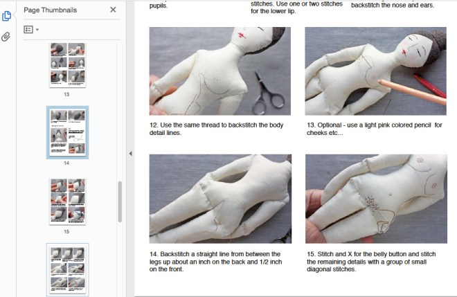 elegant rag doll sewing pattern sample page