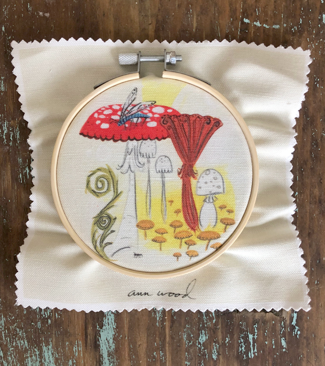mushroom embroidery stitch painting