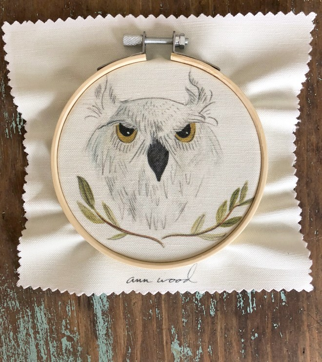 white owl embroidery stitch painting