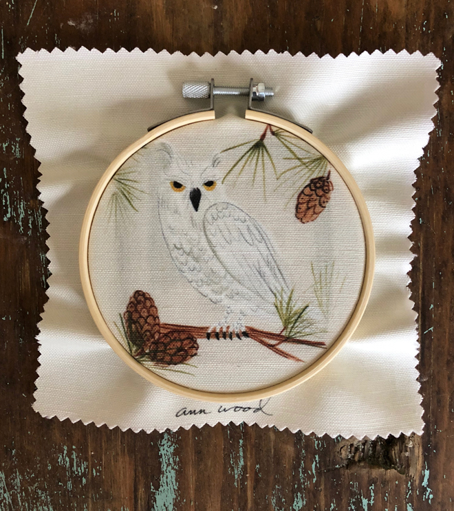 owl embroidery stitch painting
