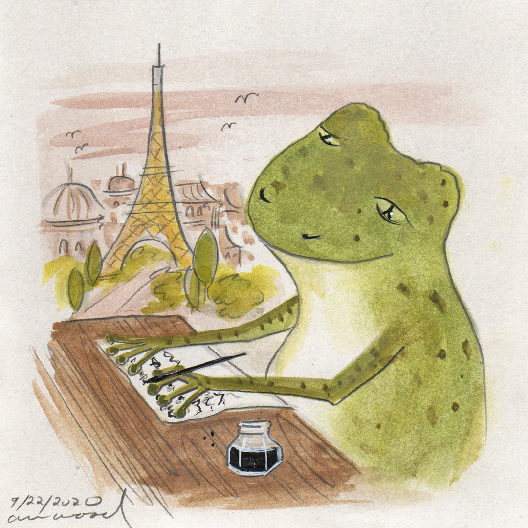 small painting : a frog writes letters from paris