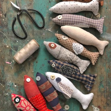 slow stitch scrap fish diy