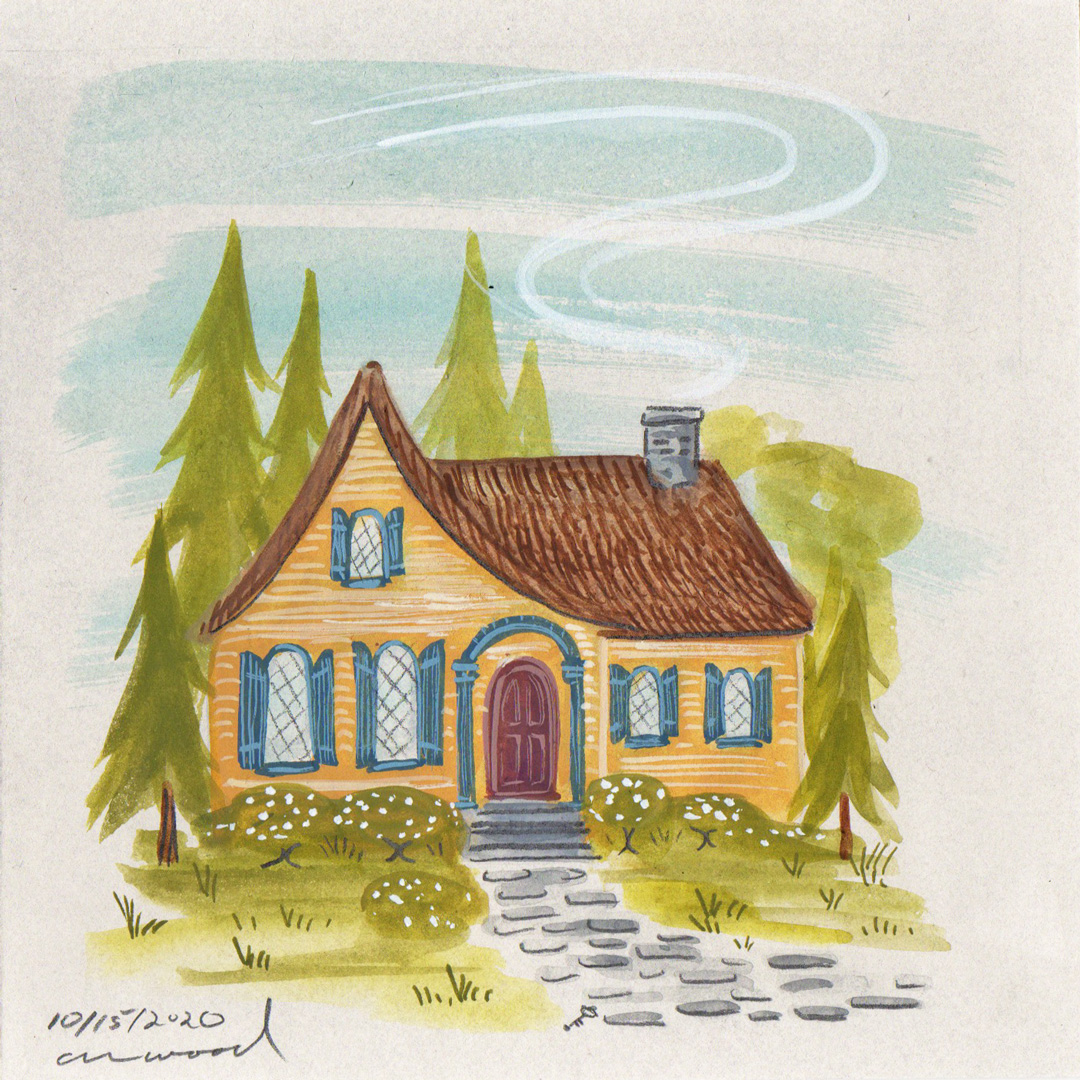 small painting : cottage