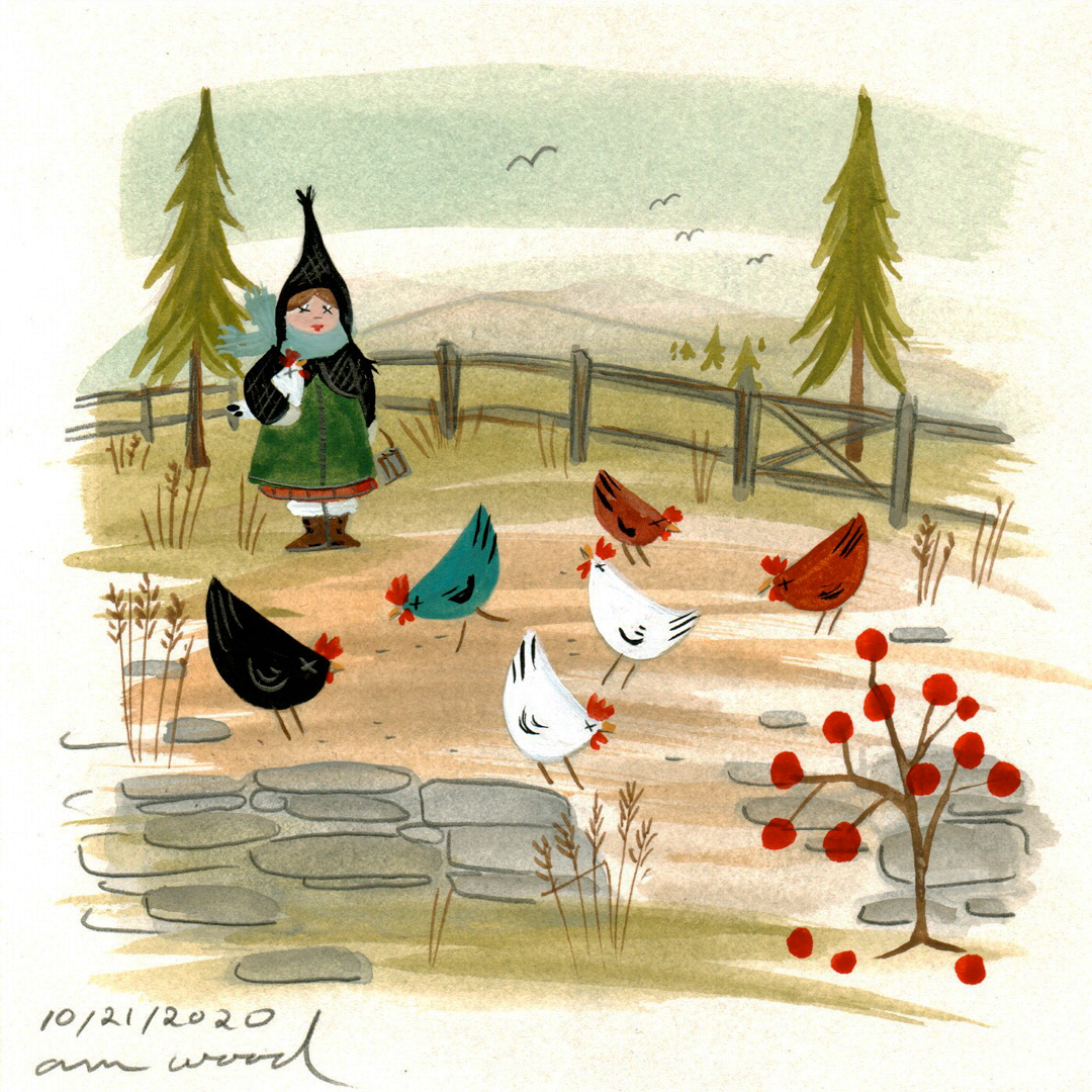 small painting : miss thistle feeds hens