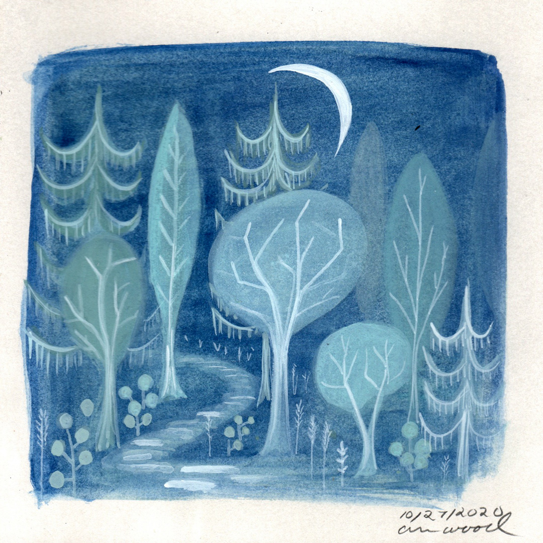 small painting : night forest