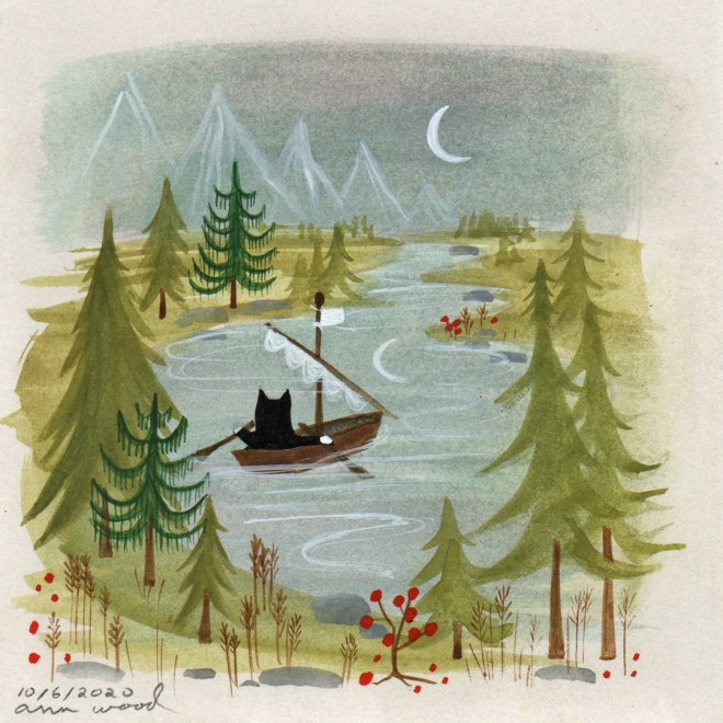 small painting : boating cat