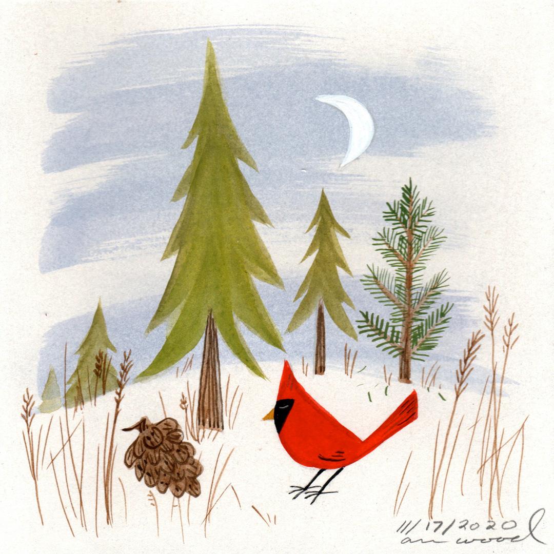 small painting : cardinal